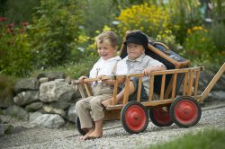 Jungs mit Koffer im Bollerwagen (© LAG Bayern : LAG Bayern )