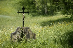 Wegkreuz im Vilstal Kreuz im Vilstal inmitten einer blumigen Bergwiese. Horizonte Erweitern Route 3 - Denkmal 1