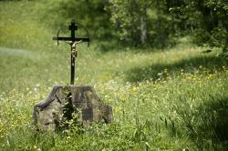 Wegkreuz im Vilstal Kreuz im Vilstal inmitten einer blumigen Bergwiese. Horizonte Erweitern Route 3 - Denkmal 1