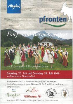 Dorf- und Bergwiesenfest 2016 23. Juli und 24. Juli 2016 in Pfronten.