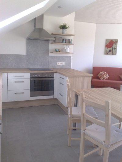Küche, im Hintergrund die Couch im Wohnzimmer