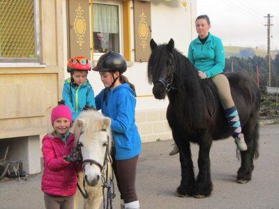 """und immer wieder gibt es Ausritte mit unseren Pferden. """" Fiole """" für die Kleinen, die großen dürfen schon mal den """" Frank """" ausprobieren."""