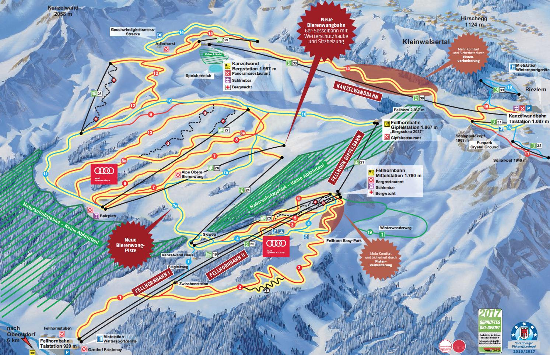 Pistenplan von Oberstdorf und Kleinwalsertal