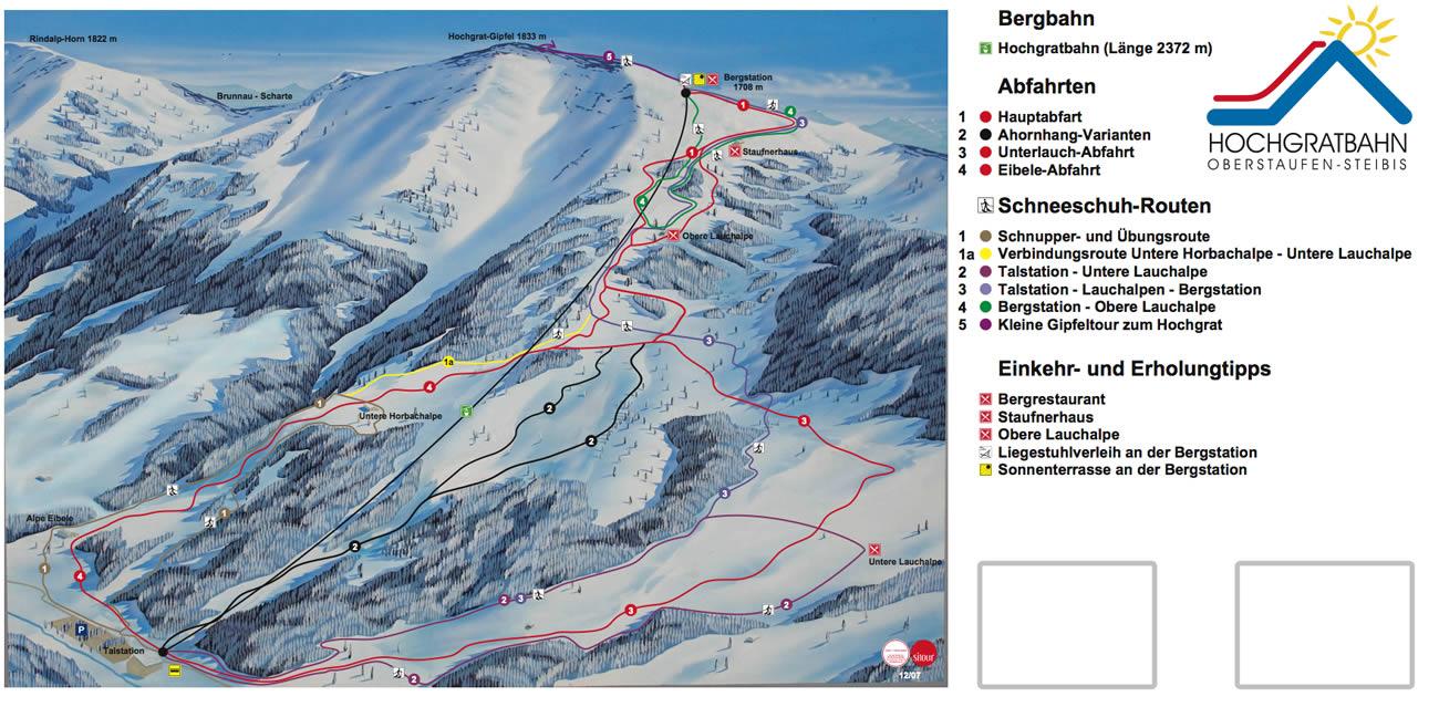 Pistenplan von Oberstaufen und westliches Allgäu