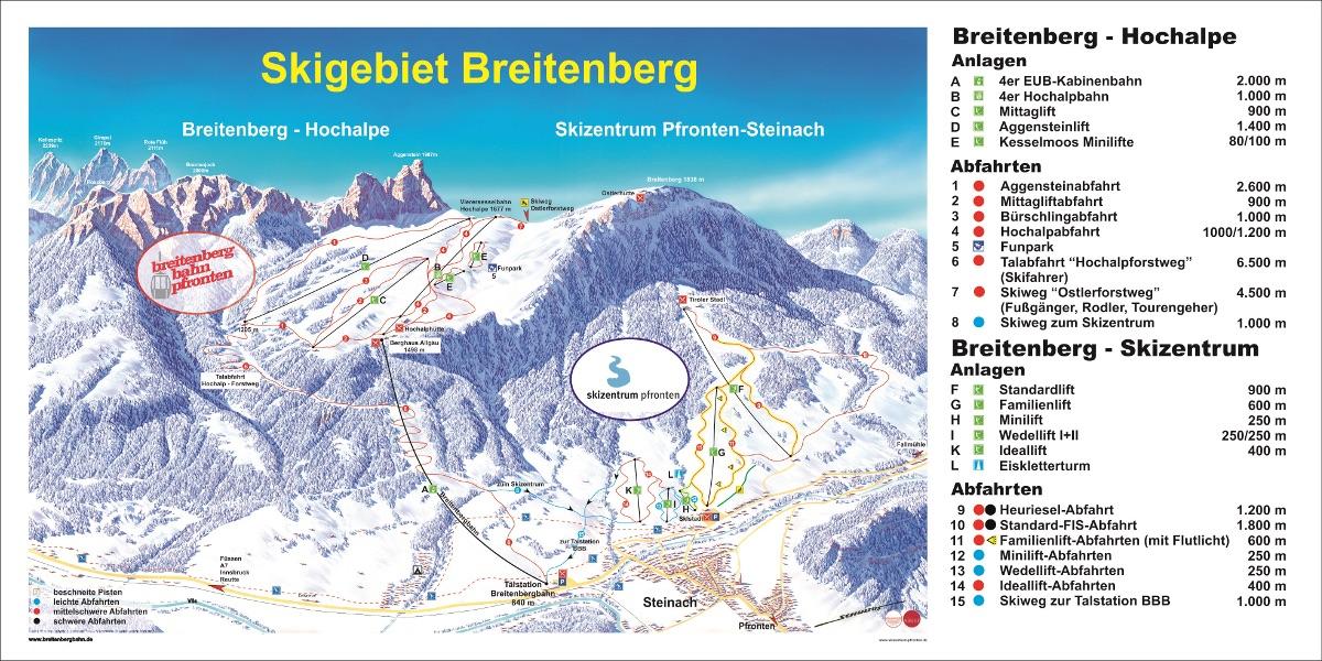 Pistenplan von Füssen und östliches Allgäu
