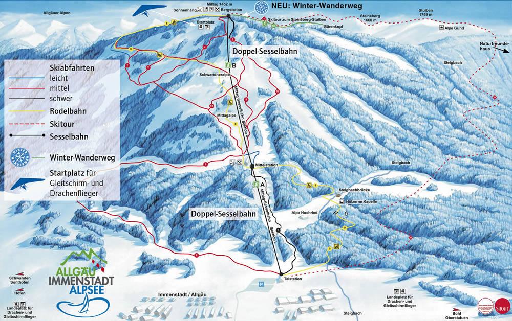 Pistenplan von Ferienregion Alpsee-Grünten